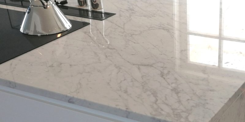Carrara marble kitchen worktops